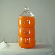 West Virginia Glass Co. Orange Stacking Vanity Set