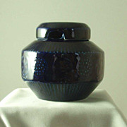 Arabia of Finland Cobalt Blue Condiment Jar