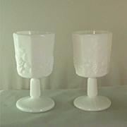 Westmoreland Milk Glass Paneled Grape Water Goblet