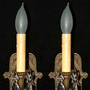 French Fleur de Lis Antique Brass Crystal Sconces