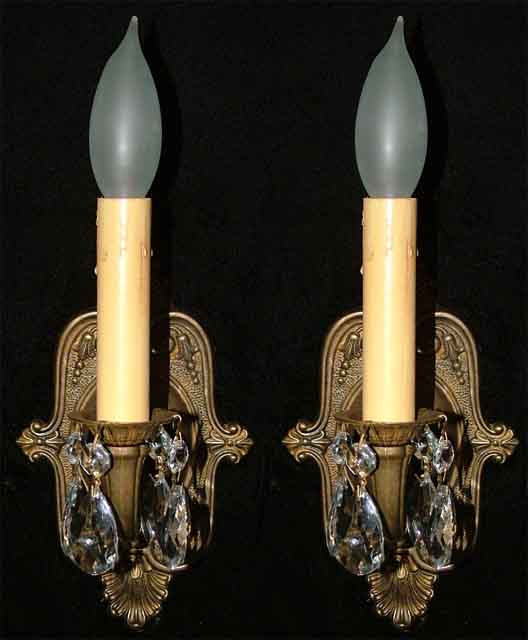 French Fleur de Lis Antique Brass Crystal Sconces from beaumaison