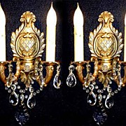 Pair French Leaf  Antique Brass Crystal Sconces