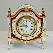 Porcelain German Mantle Clock by AK Kaiser