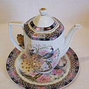 Lidded Porcelain Teapot and Matching Plate by L.G. Porcelaine