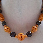 Carved Orange & Brown Celluloid Bead Necklace