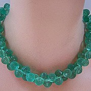 SALE PENDING Vintage Green Plastic Textured Berry Bead Necklace