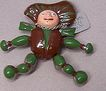 1940's Mechanical Enameled Golliwog Lucky Charm Fur Clip