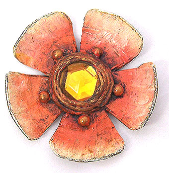 Enid collins papier mache flower pin brooch from beboparoo for How to make paper mache jewelry