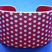Red & White Polka Dot Plastic Laminated Cuff Bracelet