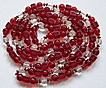 Deco Flapper Length Ruby Red & Clear Glass Bead Necklace ~ 53""