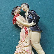 Japan Celluloid Dancing Couple Pin