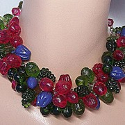 German Plastic Jeweltone Fruit Clusters Necklace