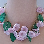 Pink Plastic Morning Glories Floral Necklace
