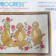 Progress Crewel Embroidery Stitchery Kit ~ See/Hear/Speak No Evil Monkeys with Flowers ~ ...
