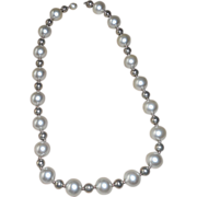 Vintage Simulated Pearl and Silver Color  Necklace