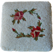 Vintage White Beaded Compact with Flowers made in Paris