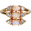 Vintage Signed Avon 1987 �Opaline� Ring ~ Size 9 ~ a trio of faux opals set off by rhinestones