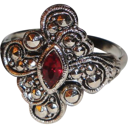 "Signed Avon 1994 ""Faux Marcasite Filigree"" Ring ~ Size 10 ~ faux ruby stone in diamond shaped marcasite setting"