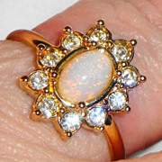 "REDUCED Vintage Signed Avon 1992 ""Fiery Opalesque Ring"" ~ Size 10 ~ faux opal  with"