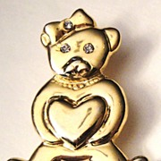 Vintage Signed AAi Shiny Gold-tone Miss Teddy Bear with Hair Ribbon, Necklace, Hearts Parts ..