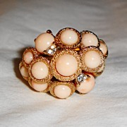 "SALE Vintage Signed Avon 1972 ""Arabesque Cluster� Ring ~ Sz 6-7 ~ faux coral pearls with"