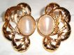 Signed Avon &quot;Angelica Pierced Earrings&quot; ~ lacy gold-tone with milky-white moonstone
