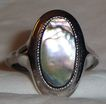 Vintage Signed Avon Abalone Ring ~ Size 4 ~ genuine abalone shell in silver-tone ~ no two alike