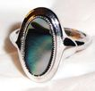 Vintage Signed Avon Abalone Ring ~ Size 7 ~ genuine abalone shell in silver-tone  ~ no two alike