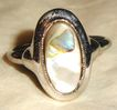 Vintage Signed Avon Abalone Ring ~ Size 9  ~ genuine abalone shell in silver-tone  ~ no two alike