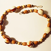 "SALE Vintage Brown Beaded 20"" Necklace with 6 Large Marbleized Bead Accents"