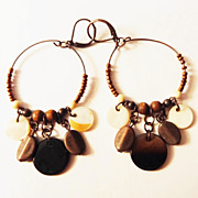 SALE Vintage Brown Beaded Dangle Lever-back Earrings