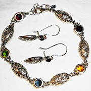 "SALE # Avon's 1985 Silver-tone ""Multi-colored Glass Stones Bracelet & Lever-Back Earrings"