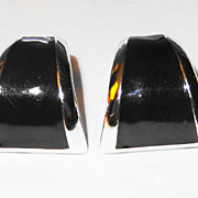 REDUCED Avon's &quot;Bold Color Hoop&quot; Clip Earrings ~ bold black enamel hoops trimmed in 