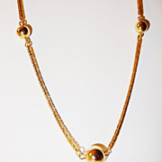 Vintage Signed Avon 1978 Beaded Chain Necklace with 5 shiny gold-tone beads & beautiful snak