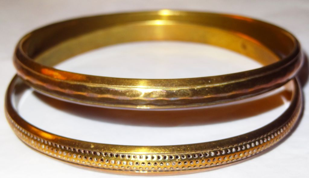 Vintage Two Textured Brown Bangle Bracelets