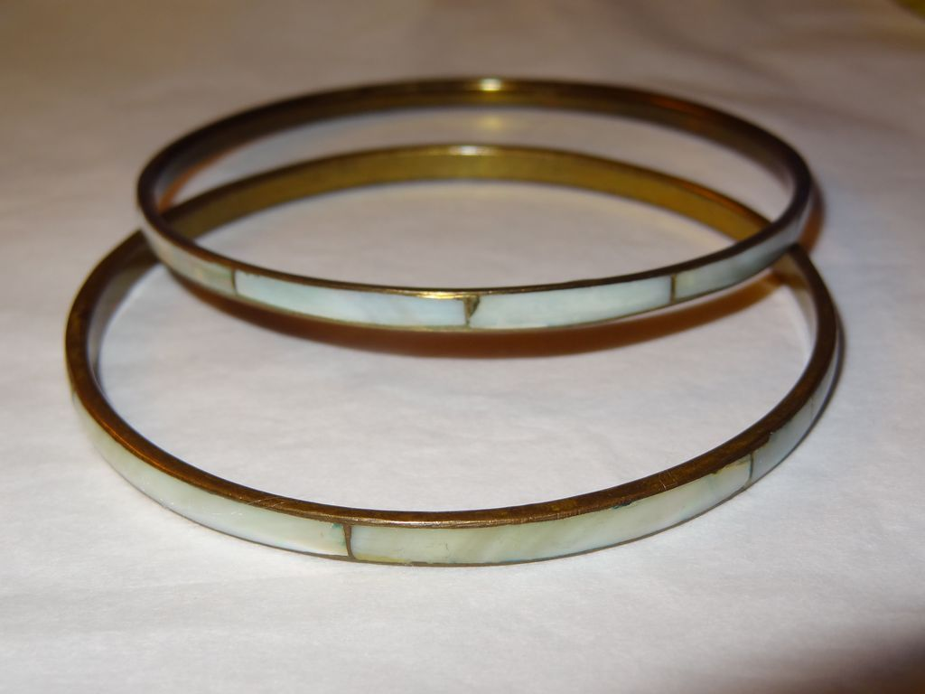 Vintage 2 Thin Green Bangle Bracelets