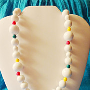 "SALE Vintage Avon 1989 ""Club Capri Bead Necklace"" ~ large white beads separated by s"