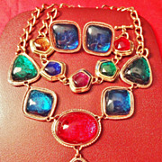 "SALE GORGEOUS KJL ""Caprianti Collection"" ~  Necklace, Bracelet & Clip Earrings ~ Avo"