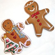 SALE Vintage Signed Avon Gingerbread Boy & Girl Friend Who's Carrying A Christmas Tree