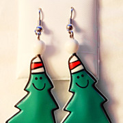 SALE Vintage Hallmark Dangling Smiling Christmas Trees with Cap on Top Pierced Earrings