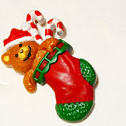 SALE Vintage 1985 Hallmark �Holiday �Lapel Pins�� Teddy Bear & Candy Canes in Christmas ...