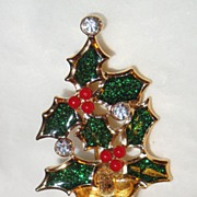 SALE Signed Avon Holly and Berry Christmas Tree ~ enamelled green leaves & red berries with fa