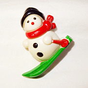RARE Vintage Signed Avon �Skiing Snowman� Lapel Pin ~ Early Hong Kong Version
