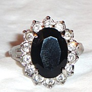 Vintage Signed Avon Black Cabochon Ring with Rhinestone Accents ~ Size 10