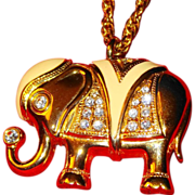 SALE &quot;Signed Royal Elephant Pin/Pendant&quot; ~ AVON'S Kenneth Jay Lane Signed Collection