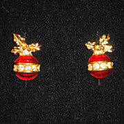 "SALE Signed Avon 1993 ""Sparkling Christmas Ornament Earrings"" ~ Pierced ~ with 5 cry"