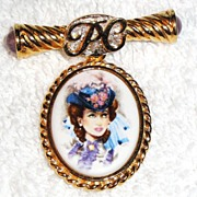 REDUCED Signed Avon David McConnell Award Pin with porcelain likeness of Mrs. Albee