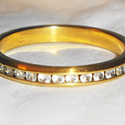 SALE Signed 1994 �Avon Eternal Ring�  ~  Size 10 ~ gold wedding band filled with white crystal