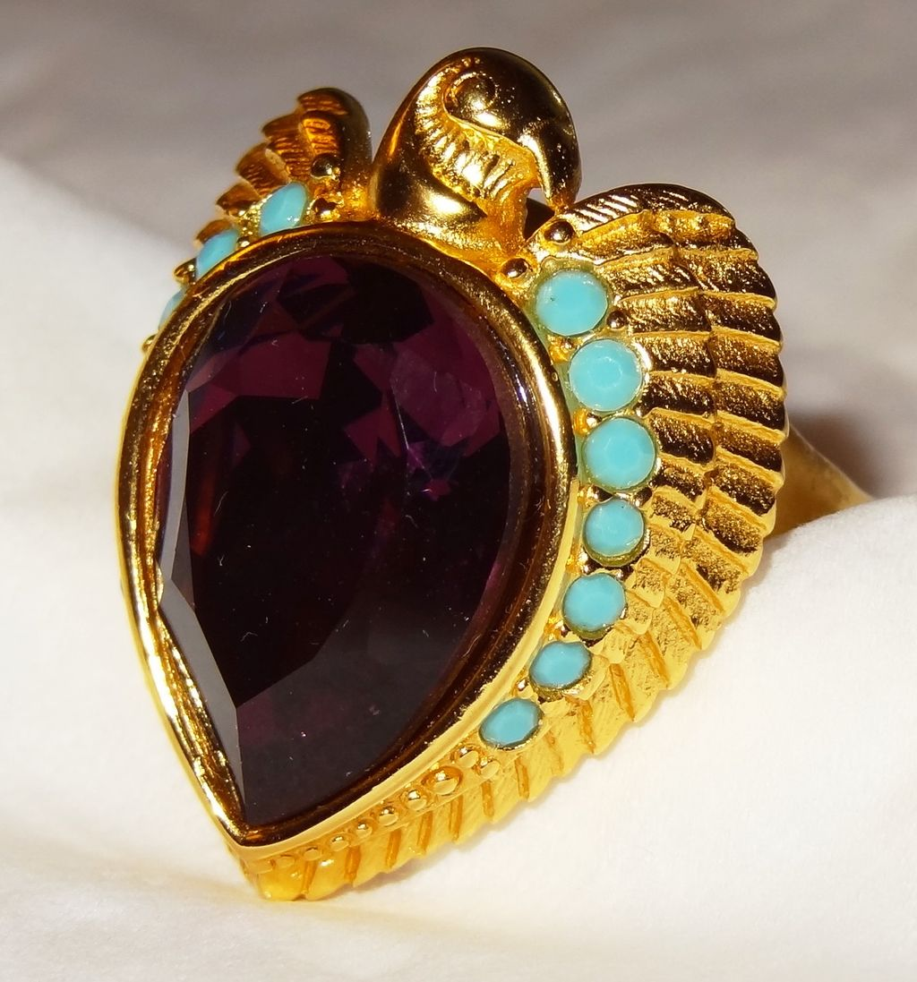 """Egyptian Style Collection"" Ring ~ Size 7-8 ~ Avon's Elizabeth Taylor Signed Collection ~ Faux Amethyst ~ plumed falcon ~ turquoise accents"