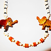 SALE Vintage Hand Carved Wooden Elephants Beaded Necklace